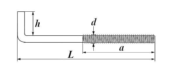 Костыль с метрической резьбой (Г – образный)