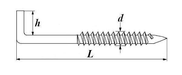 Костыль с шурупной резьбой (Г – образный) чертеж