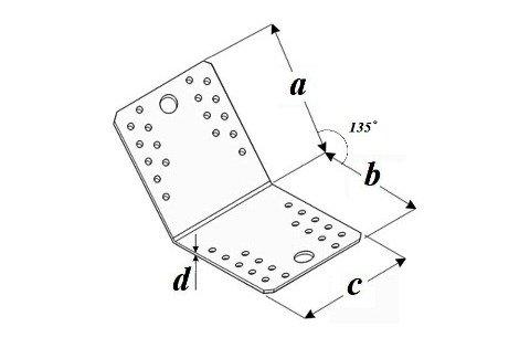 Уголок соединительный KLR 135 градусов чертеж